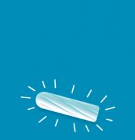 Piirros valkoisesta tamponista sinisellä taustalla