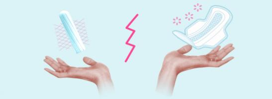 Kuva kahdesta kädestä, toisessa on tamponi ja toisessa terveysside. Kuva kuvastaa kahden vaihtoehdon eri ominaisuuksia.