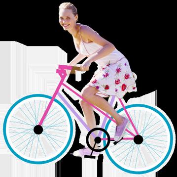 Kuva nuori nainen, joka polkupyörät